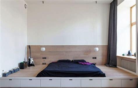 Einrichten 1 Zimmer Wohnung Bett Podest Schublaeden