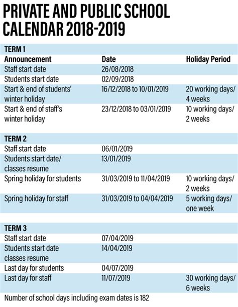 uae school term announced national