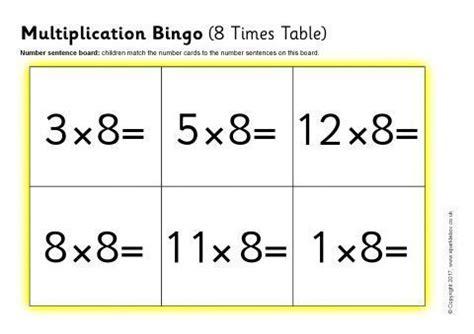 multiplication bingo  times table sb sparklebox