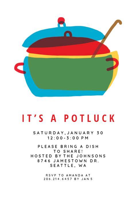 colored pot potluck invitation   island