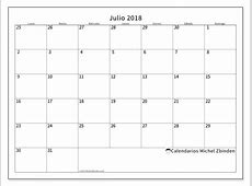 Calendarios para imprimir julio 2018 Chile