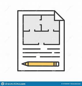 Floor, Plan, Flat, Blueprint, With, Pencil, Color, Icon, Stock, Vector