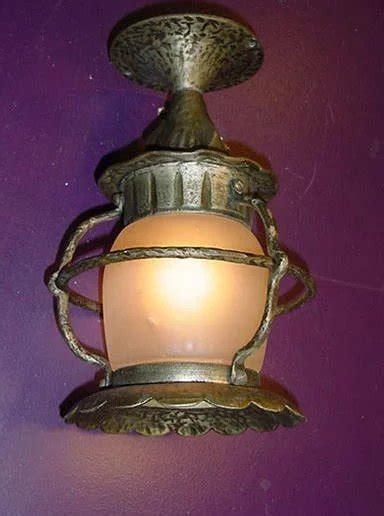 vintage flush mount porch light fixture original glass