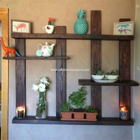 pallet shelves with wall decor pallet wood projects