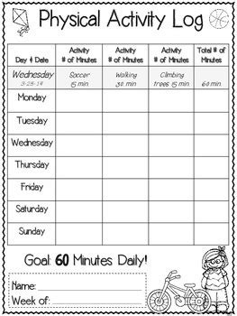 weekly student physical activity  nutrition log
