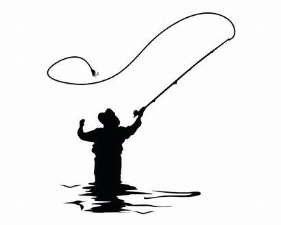 Fishing Fly Silhouette Clipart Fisherman Vector Clip