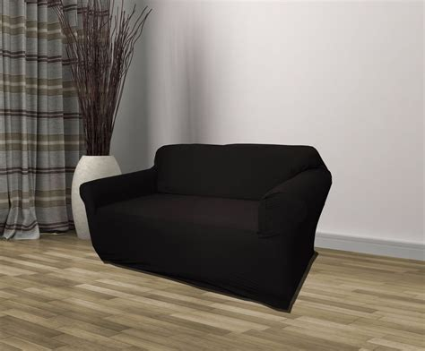 black jersey loveseat stretch slipcover couch cover love