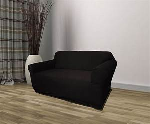 Black jersey loveseat stretch slipcover couch cover for Black furniture slipcovers