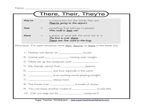 there their they re worksheet homeschooldressage