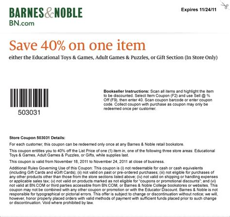 Barnes Ans Noble Coupon by Barnes Noble 40 Coupon Fbtb