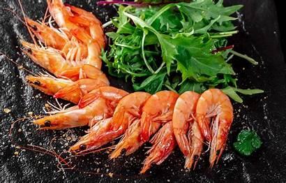 Shrimp Arugula Seafood Pantalla Fresh Prawns Scampi