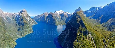 milford sound aerial view sinbad gully mitre peak