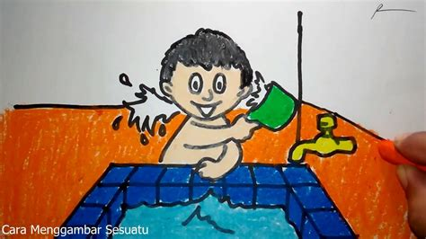 gambar kartun anak mandi top gambar