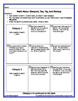 tax tip and discount word problems worksheet