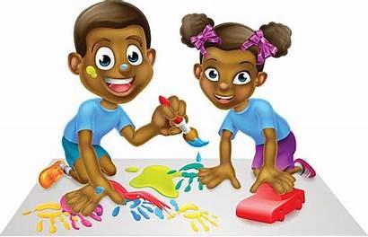 Cartoon Children African American Paint Blocks Illustrations