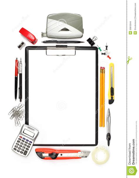 Office Supplies And Empty Clipboard Isolated On White