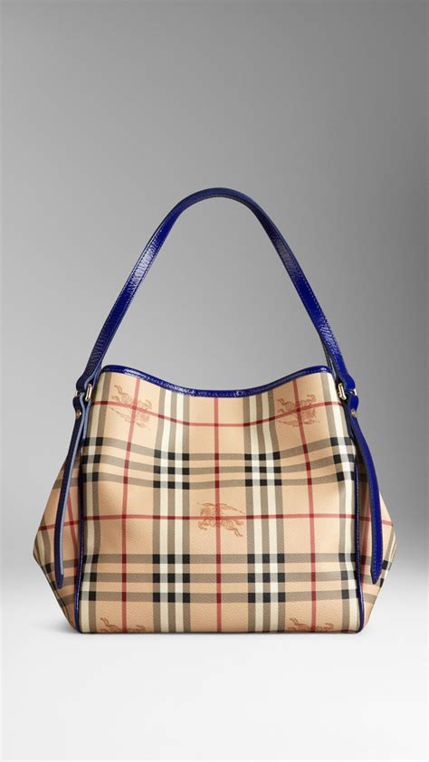lyst burberry small haymarket check tote bag  blue