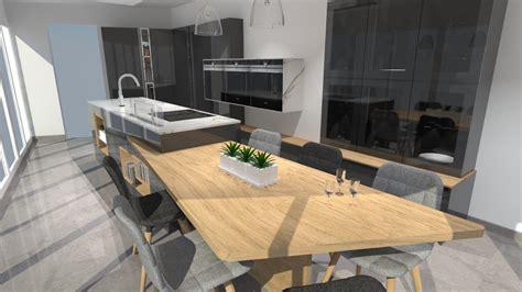 cuisiniste barentin cuisine moderne avec îlot phénix gris anthracite et bois