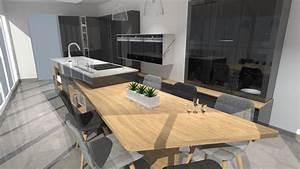 cuisine noir plan de travail bois ncforcom With plan de travail cuisine gris anthracite