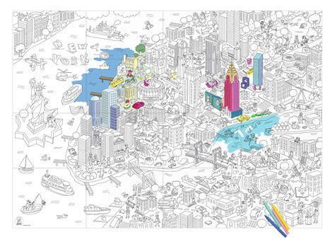 bureau 90 cm poster à colorier york 100 x 70 cm york omy