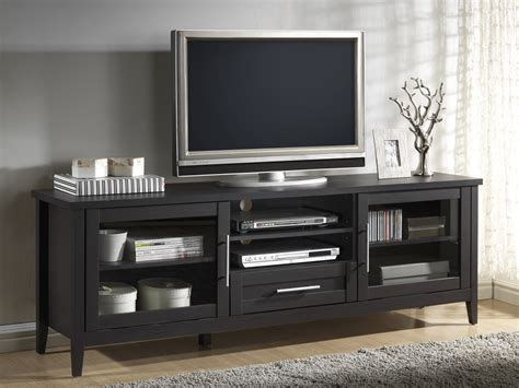 Baxton Studio Euclid Espresso Finished 2-door And 1-drawer Tv Stand Cheap Black Drawers Twin Box Bed With Corner Dresser How To Build Built In Metal Drawer Cabinets Chest Of Hafele Undermount Slides Ikea Office
