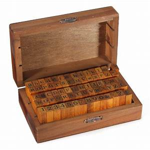 70pcs number alphabet letter wood stamp with wooden box With stamping letters into wood
