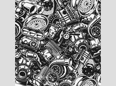 Automobile car parts seamless pattern with monochrome