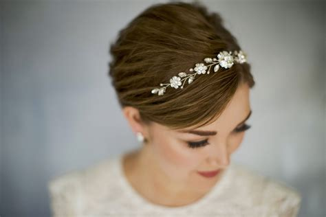 crystal  pearl bridal browband hair vine estelle