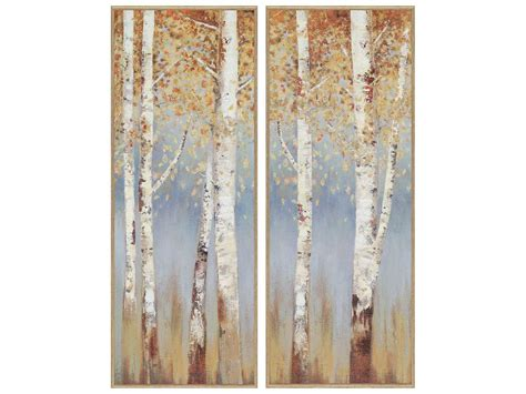 table top birch tree paragon pearce birch trees textured print two piece set