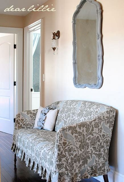 Slipcovered Settee by Slipcovered Settee Makeover The Fabric And The