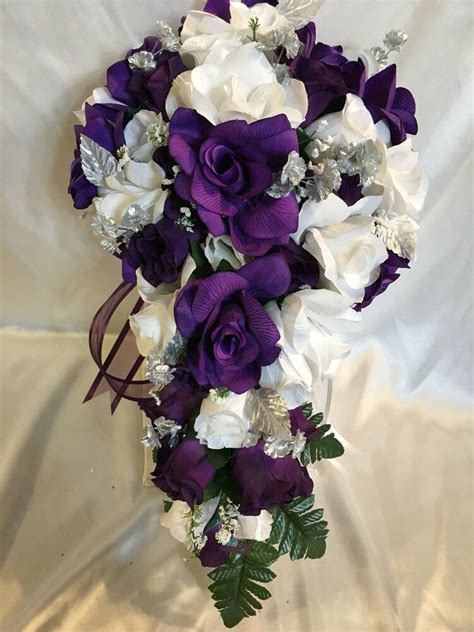 wedding bridal bouquet  cascade package purple white