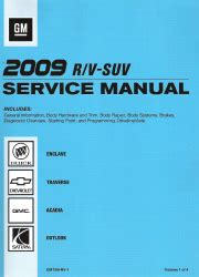 motor repair manual 2009 buick enclave electronic toll collection 2009 buick enclave chevrolet traverse gmc acadia saturn outlook factory service manual 4