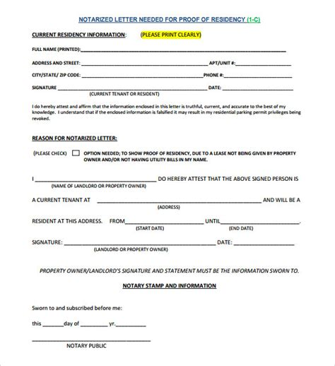 proof of residency letter template pdf 7 notarized letter template doc pdf free premium templates