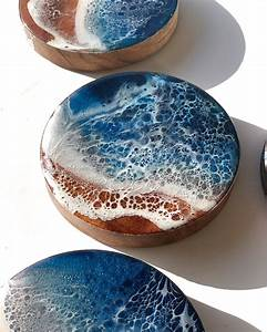 Blue, Resin, Wooden, Drink, Coasters