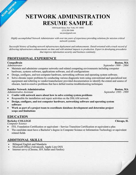 Network Administrator Resume Template by Resume Format For Freshers Networking