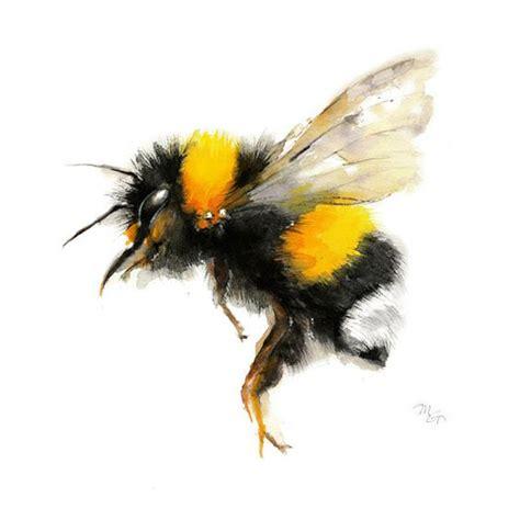 Bee watercolor painting - Bumble Bee Art Print. Nature