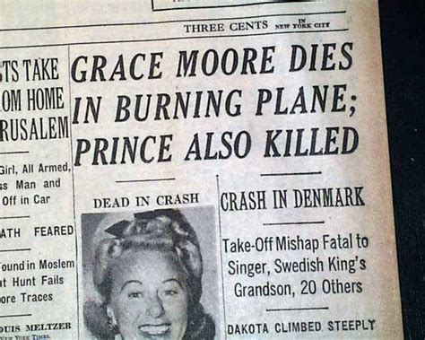 Actress Grace Moore Killed...