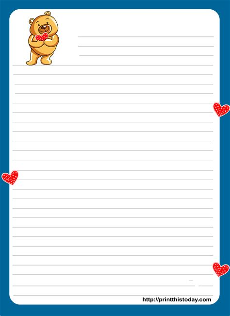 teddy bear writing paper  kids images  printing
