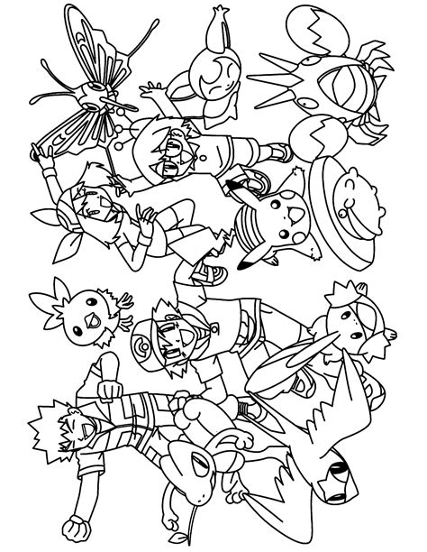 pokemon group coloring pages   thousand