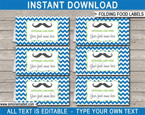 mustache party food labels place cards  man