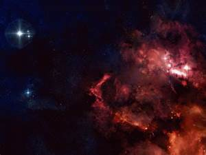Wallpaper red and dark blue nebula converge in deep space ...