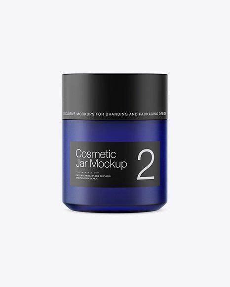 Sample design is not included in the download file. Blue Glass Cosmetic Jar Mockup High Angle Shot in 2020 ...