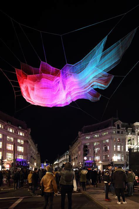 janet echelman suspends net sculpture  londons oxford