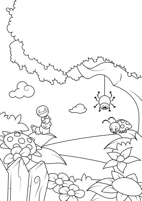 disegno da colorare primavera nella foresta disegni da