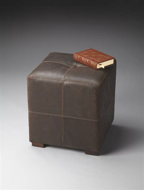 Cube Leather Ottoman by Leather Cube Ottoman Traditional Footstools And