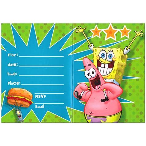 spongebob birthday card template now free printable spongebob birthday invitations