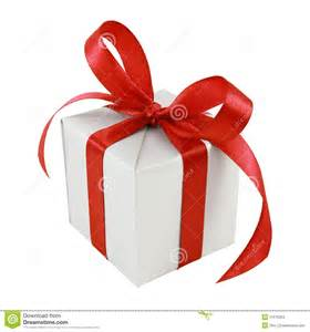 silver gift wrapped present with red satin bow stock images image 21675204