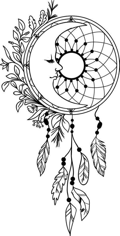 Moon Dream Catcher Feathers Vinyl Decal Dreamcatcher Mandala | Dream catcher coloring pages