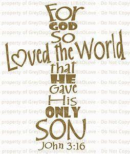 John 3:16 Vinyl Decal Sticker Bible Verse Cross Shaped