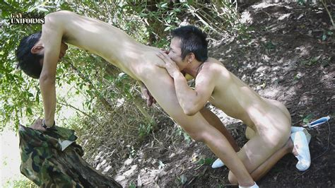 asian soldiers with uncut cocks barebacking in the forest big asian dick